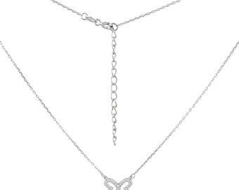 Butterfly Necklace pendant in 925 sterling silver glitter rhinestone eye-catcher