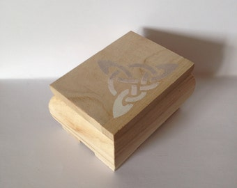 Rustic wedding - box - Celtic wooden box - keepsake - folk - celt - shabby paint chalk - natural