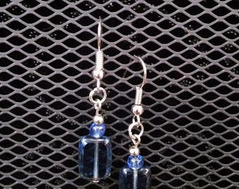 Square blue dangle earrings