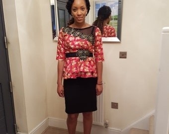 Floral Peplum Top with Net Detail