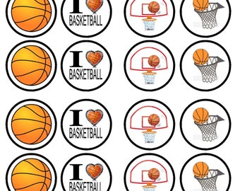 Basketball Edible Wafer Rice Paper Cake Cupcake Toppers x 24
