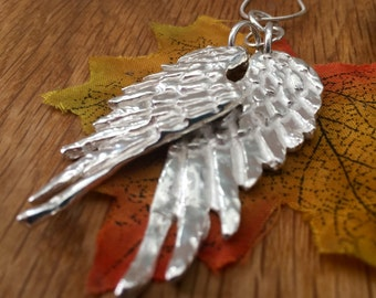 Solid Silver Angel Wing long necklace, Silver Angel Wings, Double Angel Wings, Pure silver, Angel Wings, Angel Wing pendant, Personalised
