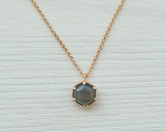 Rose Gold Labradorite Necklace
