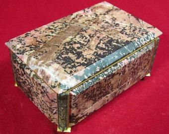 Vintage Marble and Bronze Jewelry Box Casket Russian Soviet Souvenir USSR