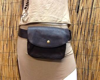 Fanny Pack hip shoulder Hip Bag Handbag travel bag of fur leather / dark brown / strap / hand made / Unisex