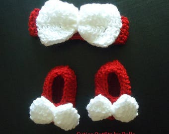 Red Baby Headband, Baby Girl Bow Headband, Infant Hairband, Girls' Headband, Crochet Baby Headband, Infant Gift, Baby Shoes Mary Janes