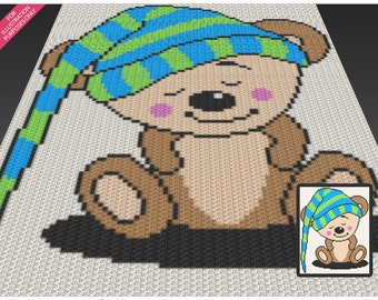 Sleeping Bear crochet blanket pattern; c2c, cross stitch; knitting; graph; pdf download; no written counts or row-by-row instructions