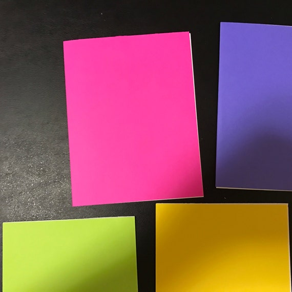 Set of Blank Solid Color Cards, Five per Pack, One Each of Five Colors, Ready for Decorating, Embellishing, or Sentiments for Any Occasion