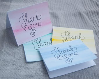 Thank You Notes watercolor stationery set of 10 cards and envelopes