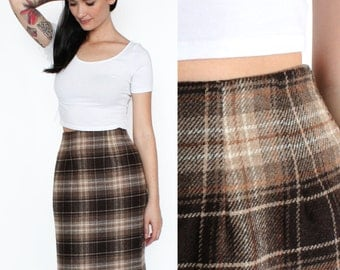 70s High Waisted Brown and Tan Plaid Wool Blend Skirt XS/S