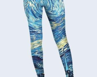 Starry Night Leggings, Art Womens Leggings, Leggings for Women, Womens Yogs Pants, Blue Leggings, Fashion Leggings, Cool Leggings