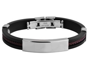 Identity bracelet ID stainless steel bracelet wristband rubber diamond engraving 19 cm new