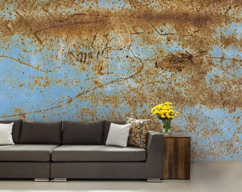 Texture WALLPAPER, metal texture wallpaper, abstract old metal, signs wallpaper, rustic metal wall decal, blue metal, metal wall decal