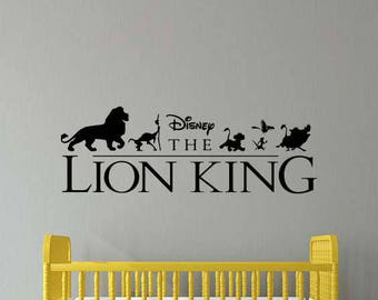 Lion King Wall Decal Simba Timon Pumbaa Movie Disney Cartoon Vinyl Sticker Home Room Bedroom Decor Nursery Poster Art Mural Custom Print 66