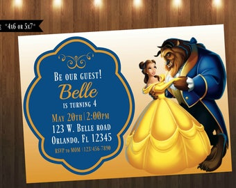 Beauty and The Beast Invitation|Digital File Only|4x6 or 5x7