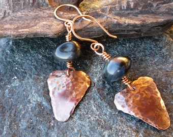 Artisan copper earrings Gemstone earrings Copper jewelry Dangle earrings Blue tiger's eye Triangular earrings OOAK Flame patina