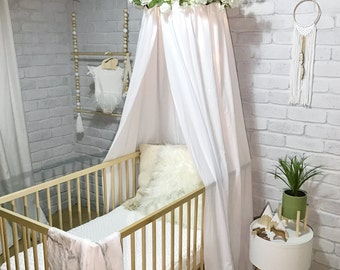 Canopy tent in white, grey, pink or beige for baby or kids, use as cot canopy, crib canopy, bed canopies or a reading nook. Nursery decor