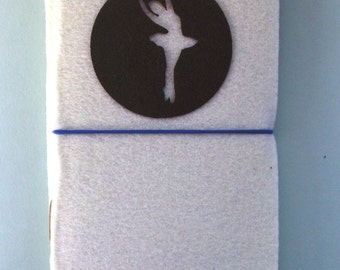 HANDMADE FELT NOTEBOOK By Shreem | Bale Dancer Ballerina Design Travel Journal Diary