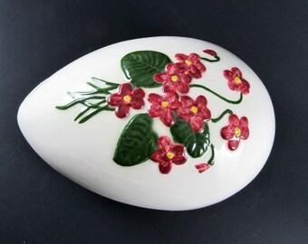 Vintage Ceramic Floral Egg Trinket Box, 1975 Bell Ceramics