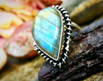 Labradorite protection ring size 54 non-adjustable (US 7)
