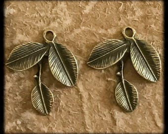 Beautiful Antique Brass Leaf Charms Drops Pair - 30mm -B16