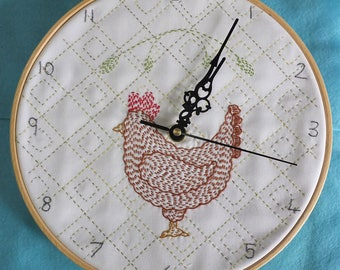 Chicken Kantha Clock Kit - Hand Embroidery Kit