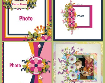Cluster Queen Digital Scrapbooking Templates