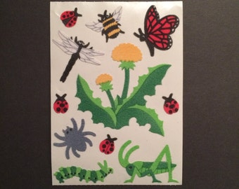 sandylion vintage rare fuzzy maxi dandelion and insect stickers