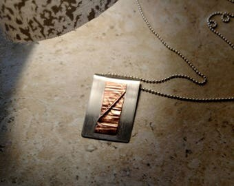 Form Folded Pendant with Copper Accent Argentium Tarnish Resistant
