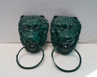 Vintage Green Painted Cast Iron Lion Head  Door Knocker, Two Available