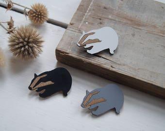 Badger Wood & Laminate Brooch - Badger - Badger Gift - Badger Pin - Badger Jewellery - Badger Brooch - Handmade Brooch - Wooden Brooch