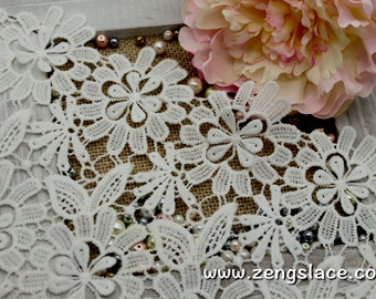 Ivory wide guipure lace trim with flowers/Venise Lace Trim/Wedding Lace trim/Vintage Lace/Antique Lace/Lace Fabric/Lace by the yard, GL-46
