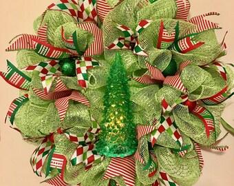 Wreath Christmas Tree Green Red