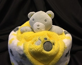 Bear Diaper Cake Gift With Plush Baby Blanket And A Security Blanket