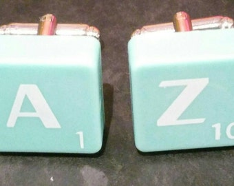 Scrabble Tile Cufflinks - Turquoise