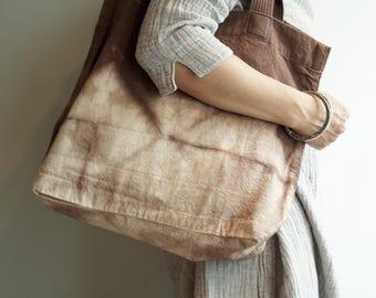 Brown Shibori Tote Bag,Indigo,Every Day Bag,Women Bag,Hand Bag
