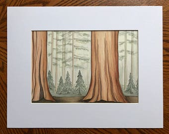Sequoia print, Watercolor print, Abstract landscape, Sequoia National Park, California
