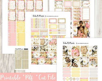 QUEEN BEE dark printable planner stickers/weekly kit/For Use with Erin Condren/Cutfile Fall September Glam Bumble Bee Fashion Glitter TN