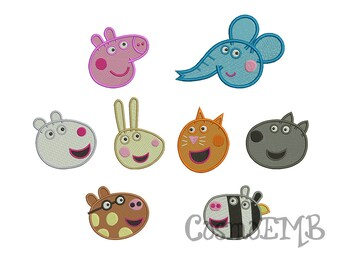 3 Size Peppa Pig & Friend Embroidery design  Machine Embroidery - Digital INSTANT DOWNLOAD