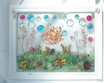 window art wall art garden scene sea glass shells dried flower resin 3 dimensional handmade frame white frame 12 x 15 654
