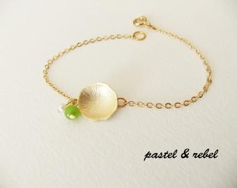 Gold filled, Lotus leaf, jade and genuine pearl