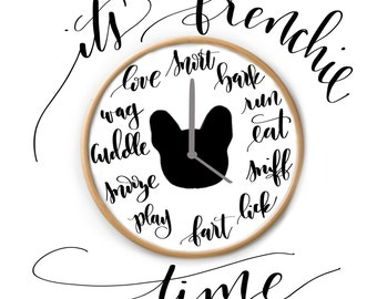 French Bulldog Clock - Frenchie Clock - French Bulldog Home Decor - Frenchie Lover Gift - Frenchie Stuff - Frenchie Clock - Frenchie Novelty