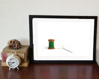 PRINT Green Thread Watercolor Painting. sewing watercolor, needle and thread watercolor painting, Vintage Spool painting, Whimsical