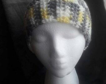 Messy bun hat/ponytail hat, yellow, gray, white