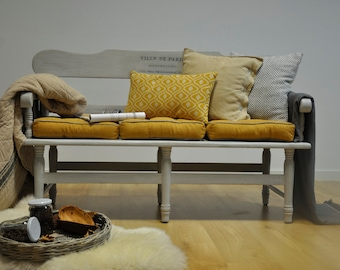 Furniture bench wood grey French white glaze