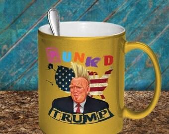Donald Trump Punk'd Illustrated Gold Metallic Coffee Mug