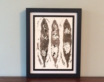 Feathers with White Spots, Contemporary Fine Art Print- Original Relief Print