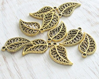 Gold Leaf Charms, set of 15, tree leaf charms, gold small leafs, nature charms, tree leaf, metal leafs, small charms, golden leafs