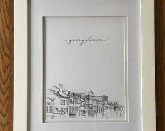 Print of Pen & Ink Architecture Sketch - 'Rooftops of DC' Series - Georgetown