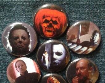 "Halloween  1"" pinback buttons Michael Myers"